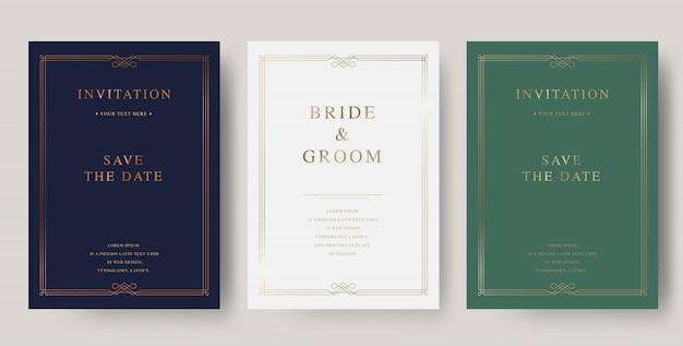 Modello di carta di lusso vintage dorato invito a nozze