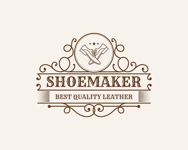 Etichette o logo del negozio di riparazione di scarpe in pelle vintage di lusso per calzolaio per marca di scarpe uomo donna