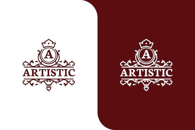 Illustrazione del modello di logo vintage lettera a di lusso