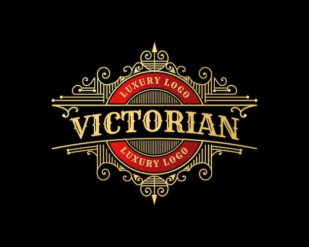 Emblema del logo vintage di lusso con cornice ornamentale decorativa per barbiere ristorante bar hotel