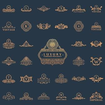 Elementi di loghi ed etichette vintage di lusso