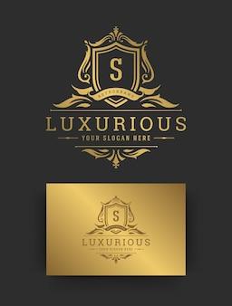 Illustrazione di lusso vintage ornamento logo monogramma cresta modello disegno vettoriale
