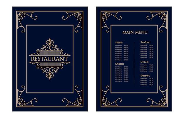 Lusso vintage ristorante cibo menu carta modello baia con logo per hotel cafe bar coffeeshop