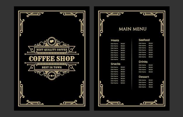 Copertina del modello di carta del menu di cibo del ristorante vintage di lusso con logo per la caffetteria dell'hotel bar caffetteria