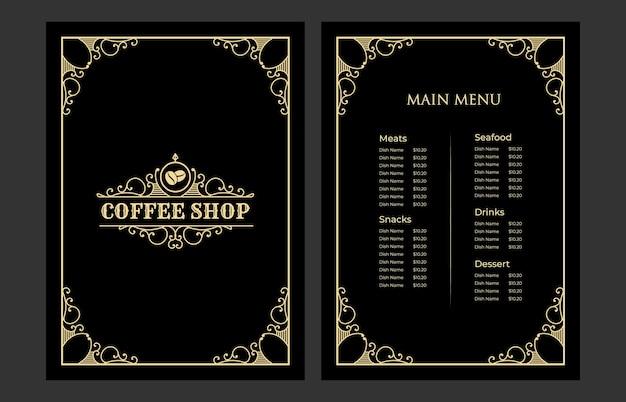 Copertina del modello di carta del menu del cibo del ristorante vintage di lusso con il logo per il bar caffetteria dell'hotel