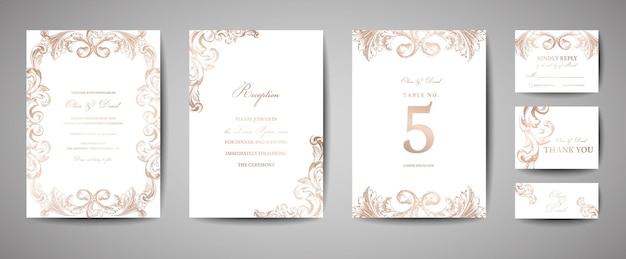 Matrimonio vintage di lusso save the date, collezione di biglietti d'invito con cornice e ghirlanda in lamina d'oro. copertina alla moda vettoriale, poster grafico, brochure retrò, modello di design