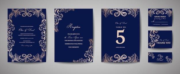 Matrimonio vintage di lusso save the date, invito alla collezione di carte della marina con cornice e ghirlanda in lamina d'oro. copertina alla moda vettoriale, poster grafico, brochure retrò, modello di design