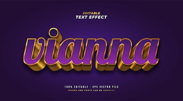 Stile di testo viola e oro di lusso con effetto rilievo 3d. effetto stile testo modificabile