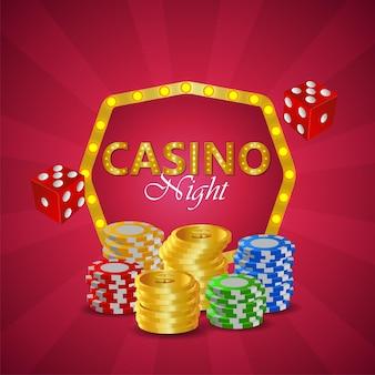 Carte da casinò online di lusso vip con carte da gioco e fiches del casinò e monete d'oro