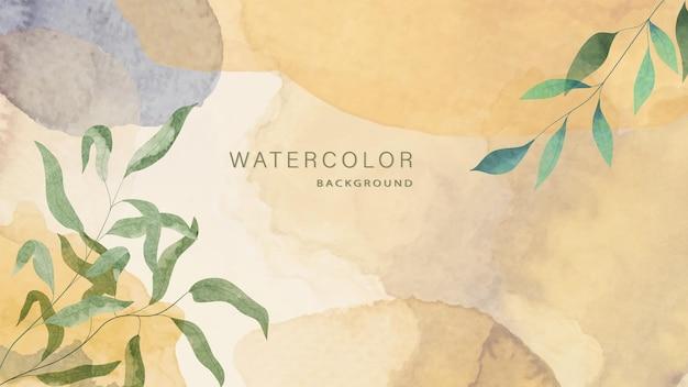 Sfondo botanico acquerello di lusso per inviti, social media, banner web