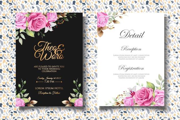 Carta di invito matrimonio floreale dell'acquerello di lusso
