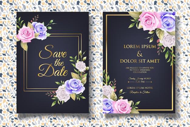 Carta di invito matrimonio floreale dell'acquerello di lusso Vettore Premium