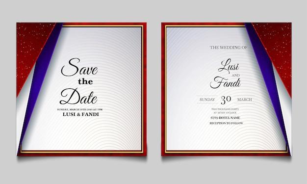 Insieme di disegno di carta dell'invito di nozze di lusso