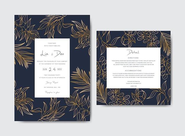 Modello di carta di invito matrimonio di lusso con ornamenti floreali in oro
