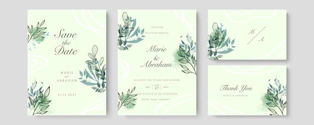 Vettore della carta dell'invito di nozze di lusso. invita il design della copertina con fard acquerello verde e texture linea oro