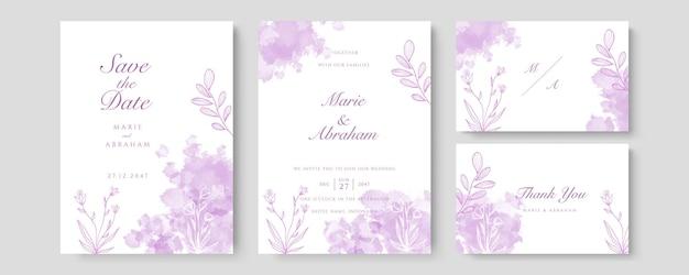 Vettore della carta dell'invito di nozze di lusso. invita il design della copertina con fard acquerello viola e trama della linea dorata