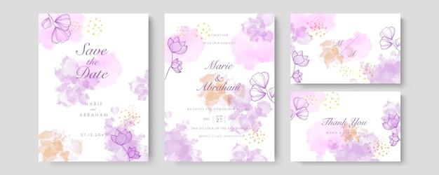 Vettore della carta dell'invito di nozze di lusso. invita il design della copertina con fard acquerello e texture linea oro