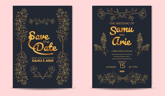 Modello di biglietti d'invito di nozze di lusso con linea di fiori dorati