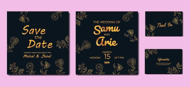Modello di biglietti d'invito per matrimonio di lusso con linea di fiori dorati