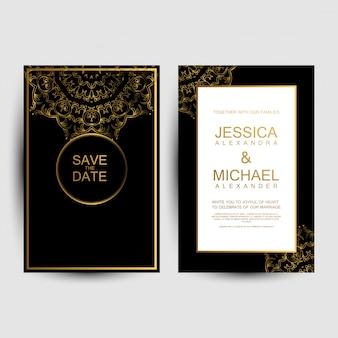 Biglietti d'invito di nozze di lusso Vettore Premium