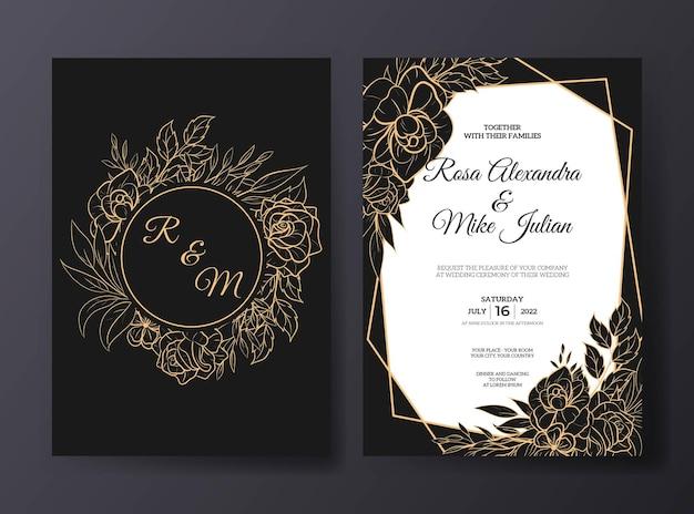 Modello di invito a nozze di lusso con bellissimo fiore di contorno