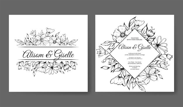 Modello di invito a nozze di lusso con contorno floreale disegnato a mano