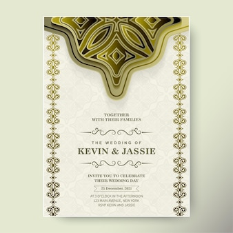Invito a nozze di lusso con ornamento d'oro