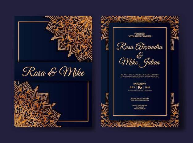 Invito a nozze di lusso con design mandala