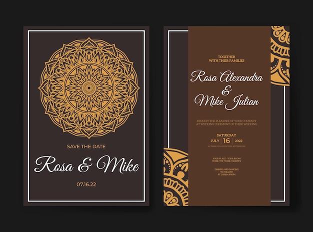 Invito a nozze di lusso con disegno mandala