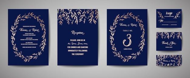 Matrimonio di lusso save the date, invito alla collezione di carte della marina con foglie di eucalipto in lamina d'oro e ghirlanda. copertina vettoriale alla moda, poster grafico, brochure floreale geometrica, modello di design
