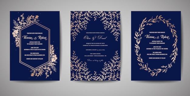 Matrimonio di lusso save the date, invito alla collezione di carte della marina con fiori e foglie in lamina d'oro e ghirlanda. copertina vettoriale alla moda, poster grafico, brochure floreale geometrica, modello di design