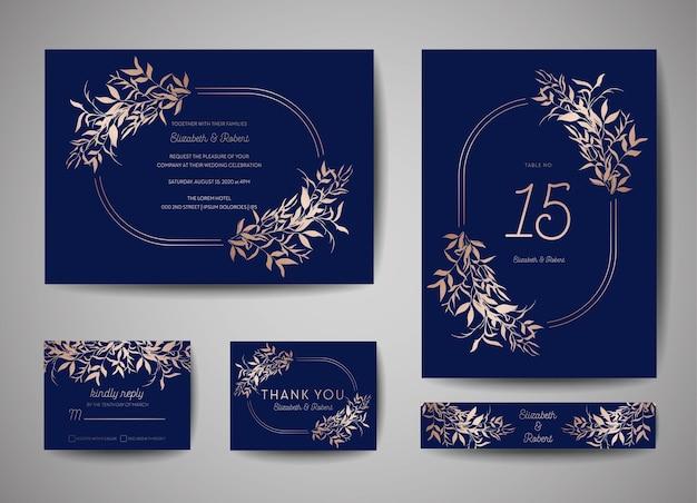 Matrimonio di lusso save the date, invito alla collezione di carte della marina con foglie e ghirlanda in lamina d'oro. copertina vettoriale alla moda, poster grafico, brochure floreale geometrica, modello di design