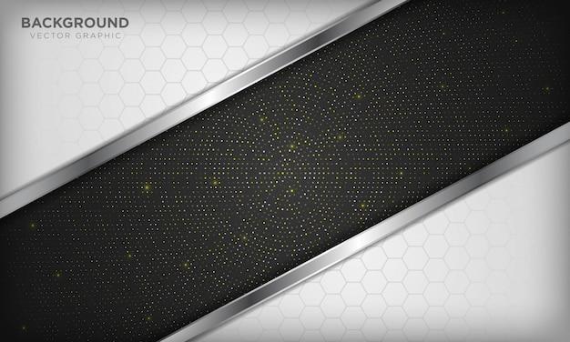 Sfondo bianco e nero di lusso sovrapposto con realistica linea argento ed esagono su mezzetinte radiale dorato lucido.