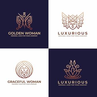 Donna di lusso, viso, salone, logo design di bellezza.