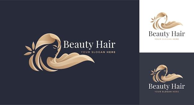 Design del logo sfumato oro di lusso parrucchiere donna
