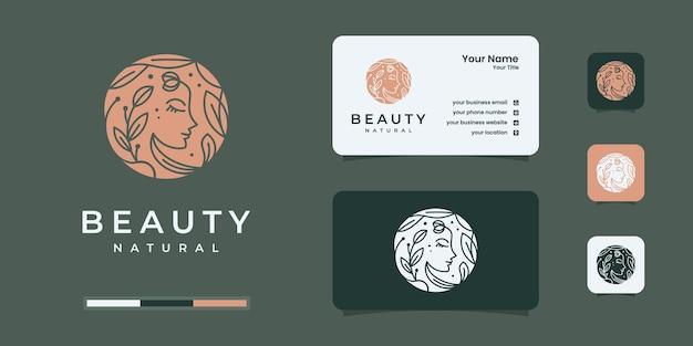 Fiore viso di donna di lusso con logo in stile line art e design di biglietti da visita. concetto di design femminile per salone di bellezza, massaggi, cosmetici e spa.