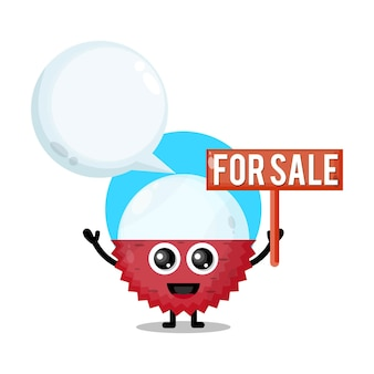 Litchi in vendita simpatico personaggio mascotte