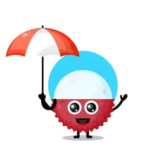Litchi ombrello simpatico personaggio mascotte