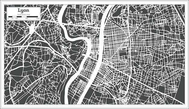 Mappa della città di lione francia in stile retrò. mappa di contorno. illustrazione di vettore.