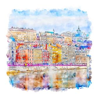 Illustrazione disegnata a mano di schizzo dell'acquerello di lione francia