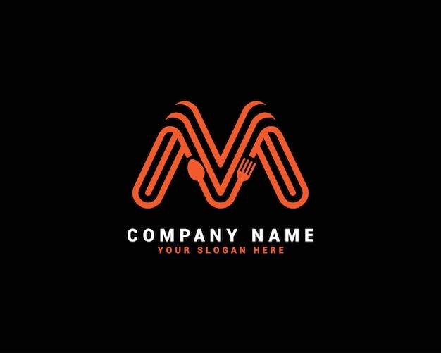 Logo della lettera di cibo m, logo della lettera del cucchiaio m, set di logo della lettera di cibo, alfabeto del cibo