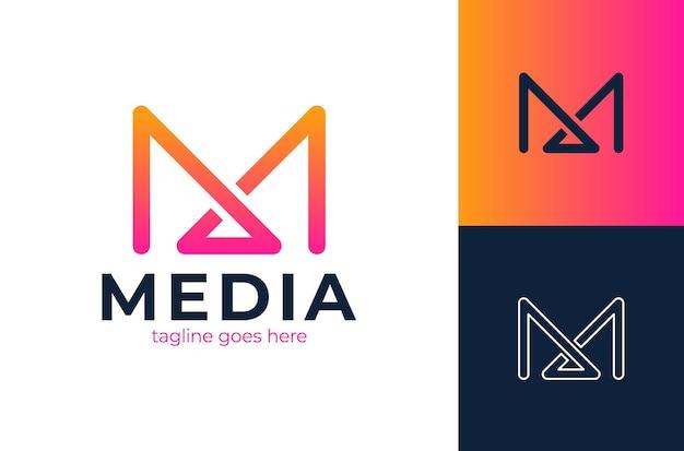 Modello di progettazione di logo di lettera iniziale m.