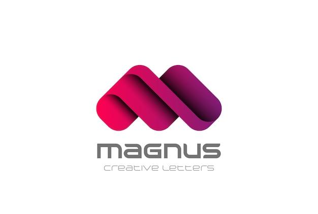 Modello di progettazione di logo di lettera m. logotipo di stile aziendale amichevole di carattere creativo.