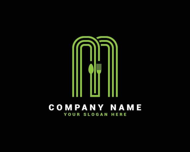 Logo della lettera m, logo della lettera del cibo m, logo della lettera del cucchiaio m