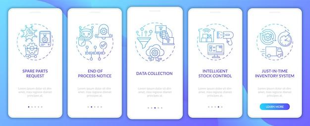 Varietà di comunicazione m2m nella schermata della pagina dell'app mobile integrata con concetti. avviso di fine processo, procedura dettagliata per la raccolta dei dati modello di interfaccia utente in 5 passaggi con illustrazioni a colori rgb