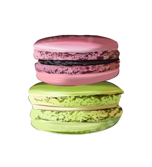 Macaron torta di maccheroni italiana confezione francese da vernici multicolori spruzzata di acquerello