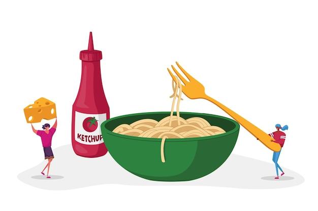 Maccheroni cucina italiana cibo sano piccoli personaggi mangiano spaghetti pasta