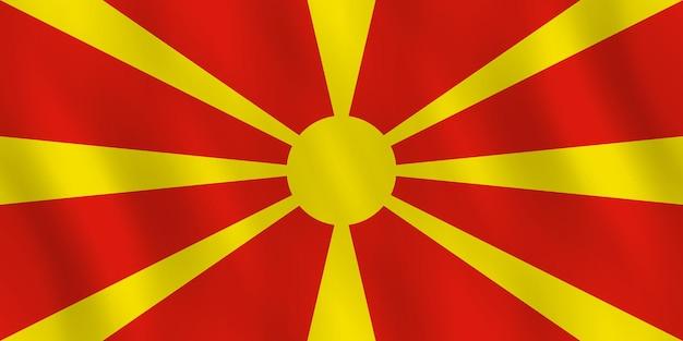 Bandiera della macedonia con effetto ondeggiante, proporzione ufficiale.