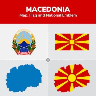 Mappa di macedonia, bandiera e emblema nazionale