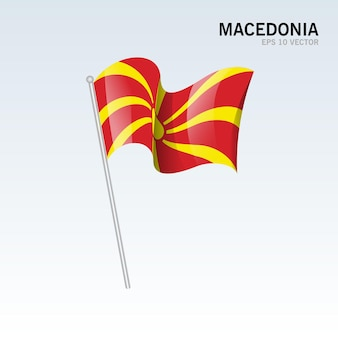 Macedonia sventolando bandiera isolata su gray